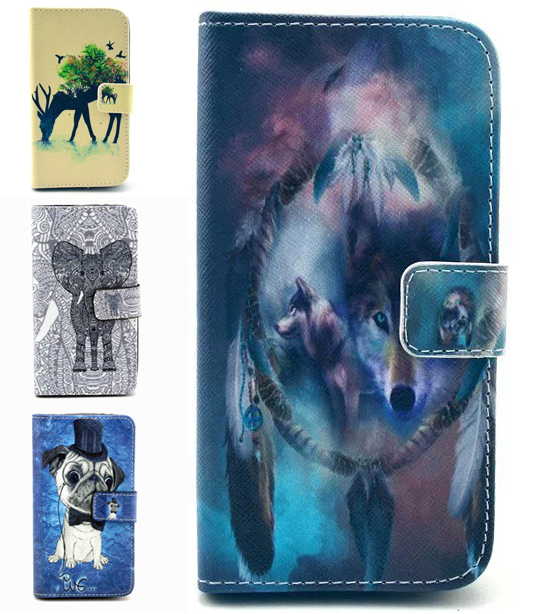 Unique Painted Wolf Dog Flip cover For LG G3 mini G3 Beat Case Cute Cartoon Print PU Leather Stand Wallet case with Card Holder(China (Mainland))