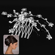 9 x 6 cm Little Flower Wedding Party Prom Crystal Hair comb Clip Pin Rhinestone Free Shipping(China (Mainland))