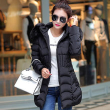2015 New eiderdown cotton coat Hooded L 4XL Plus size women winter jacket Solid heavy hair