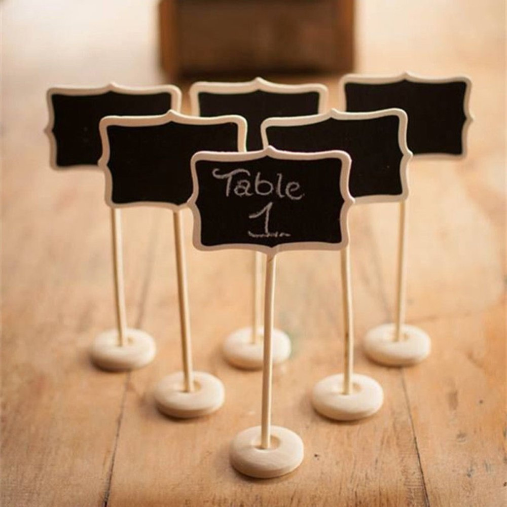 5pieces mini wooden wood chalkboard blackboard on stick for Table number holders