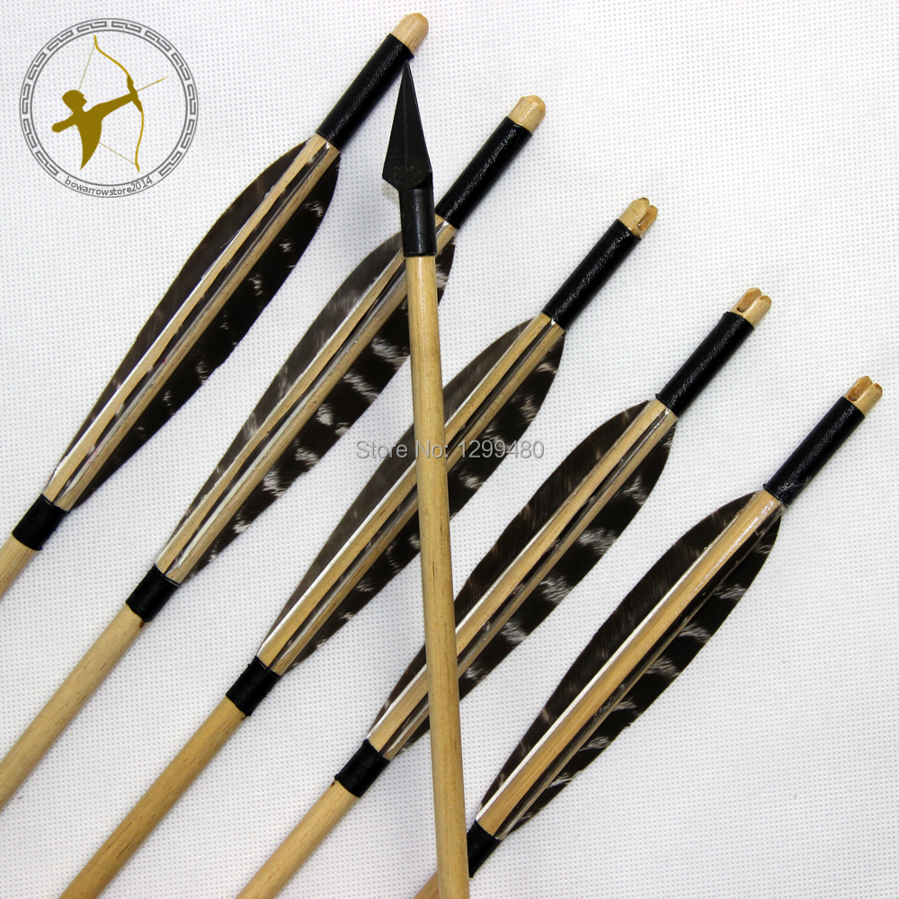 Free shipping 6 Pcs Hot Wood Shaft Hunting Arrows Archery Self Nocks Real Turkey Feather Fletching