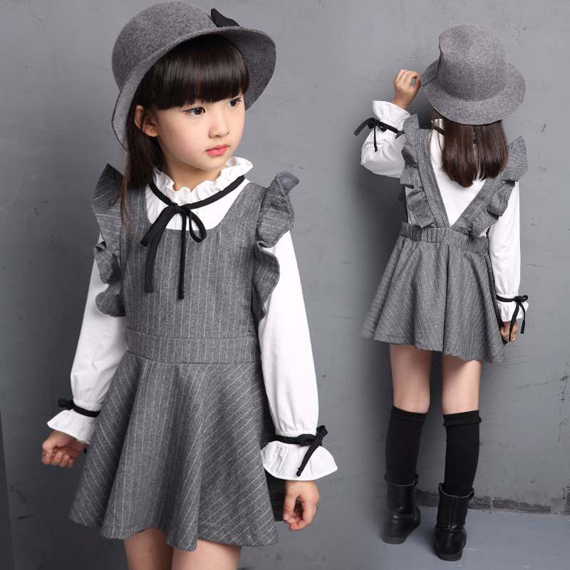 kids sets girls teenage girl clothes 150 160 cm white blouse+dress autumn fall new 2015 long sleeve(China (Mainland))