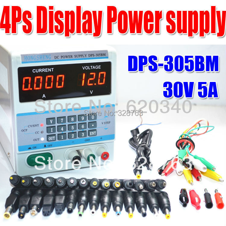 Фотография 4Ps Display 220V/110V Digital Control 30V 5A DC Voltage Regulated Power Supply DPS-305BM for Laptop Repair with 37 free Plugs