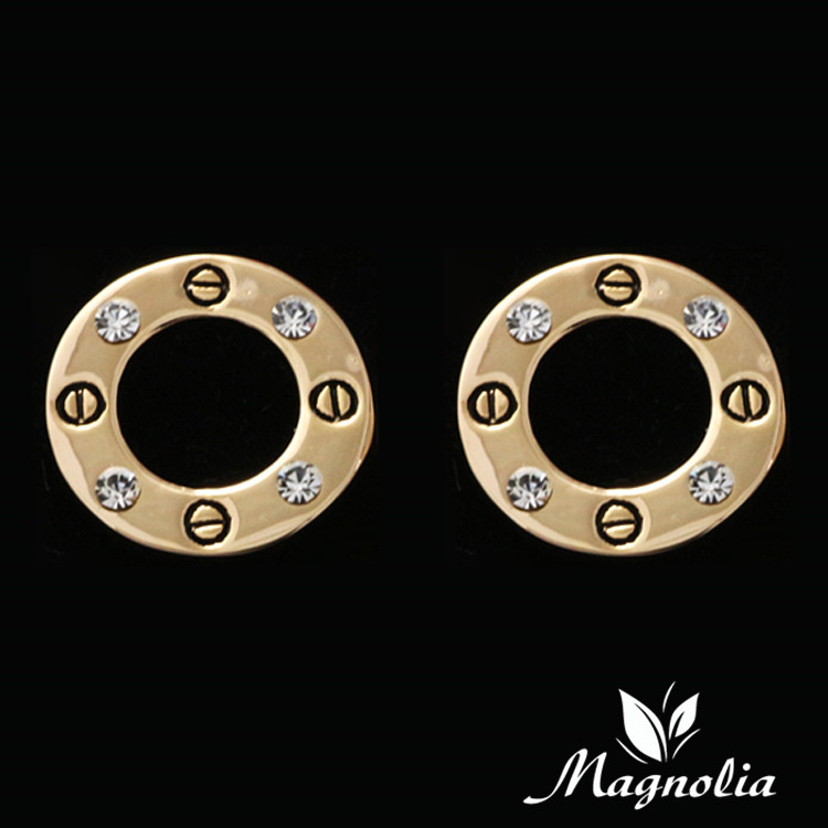 2014 New Brand Jewelry Accessories Classic Screw Earring Gold Plated Nail Earring For Women With Crystal 661c08(China (Mainland))