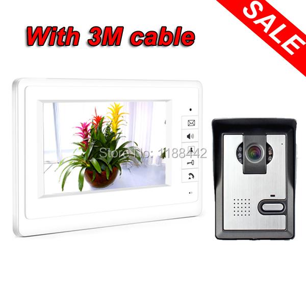 """Cheapest home Video door phone Intercom System Doorphone Camera 7"""" LCD Monitor White(China (Mainland))"""