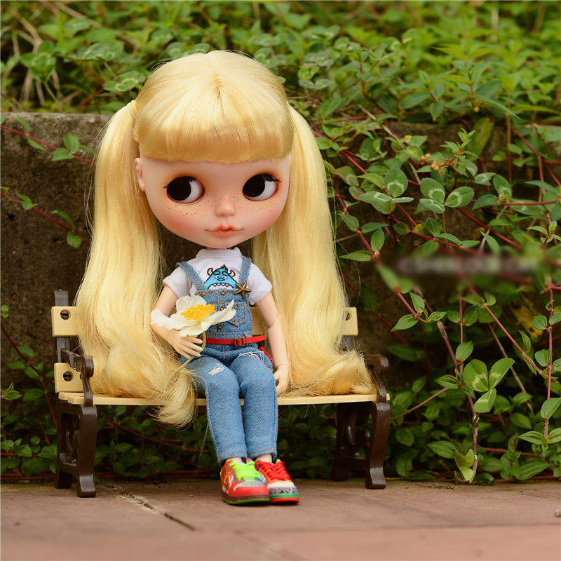 New Plastic Doll Park Bench for 1/6 1/8 1/12 Dolls Furniture Decorations(China (Mainland))