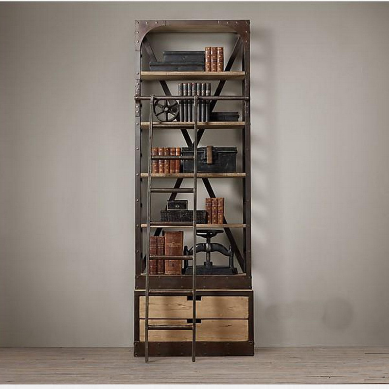 american retro industrial loft style wood bookcase shelves do the old wrought iron old pine. Black Bedroom Furniture Sets. Home Design Ideas