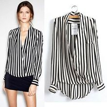 Free Shipping Fashion Chic Womens Long Sleeve Chiffon Striped Lapel Tops Blouse S/M/L 2015 New Arrival Promotion(China (Mainland))