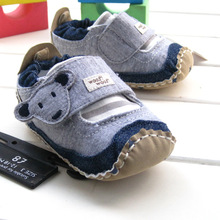 2016 new arrival spring & summer baby boy's blue denim shoes good quality new born baby toddler first walkers for 3-24month(China (Mainland))