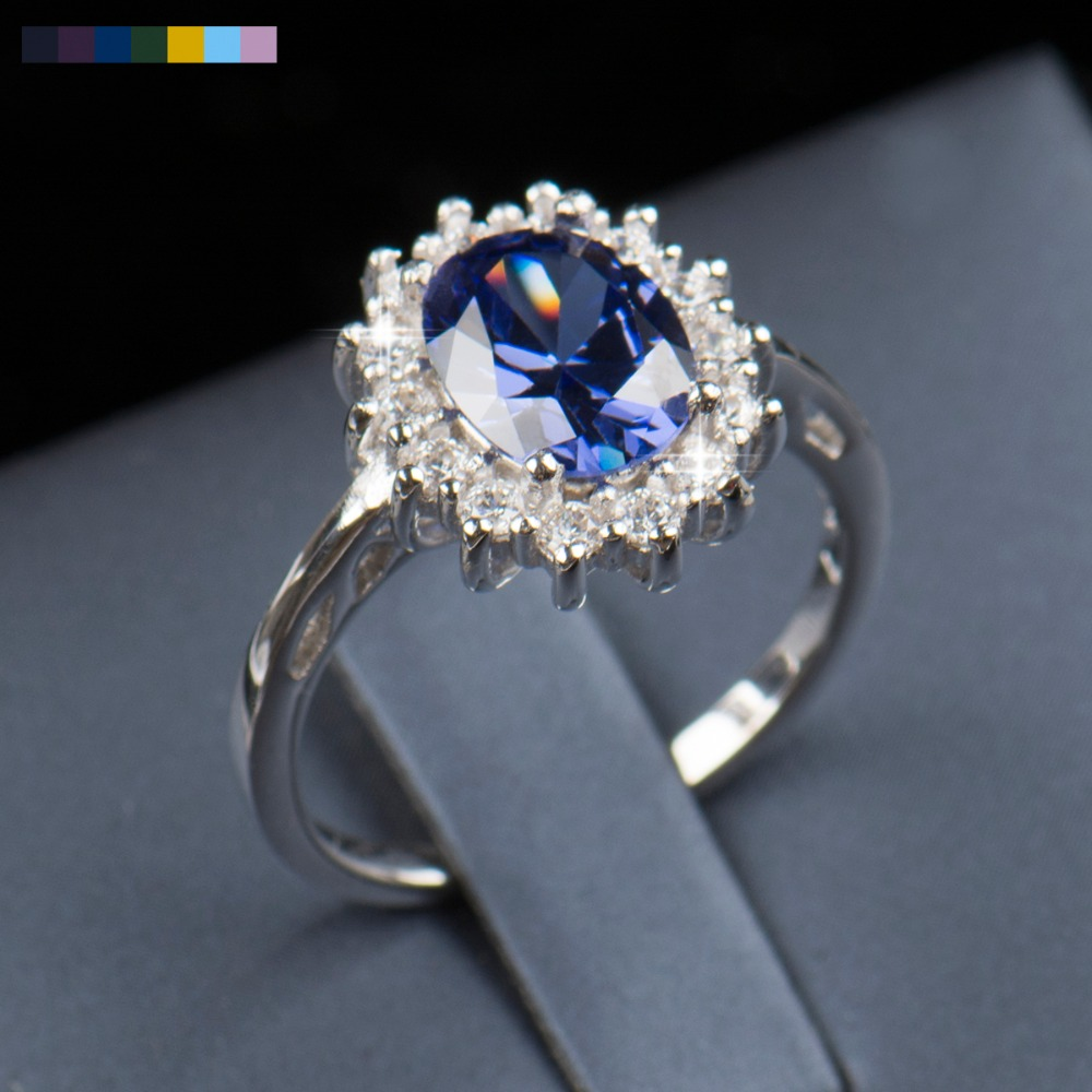2.5Ct Real Solid 925 Sterling Silver Ring Fashion Women Gift Sapphire/Emerald Jewelry Brand Wedding Engagement Silver Rings(China (Mainland))