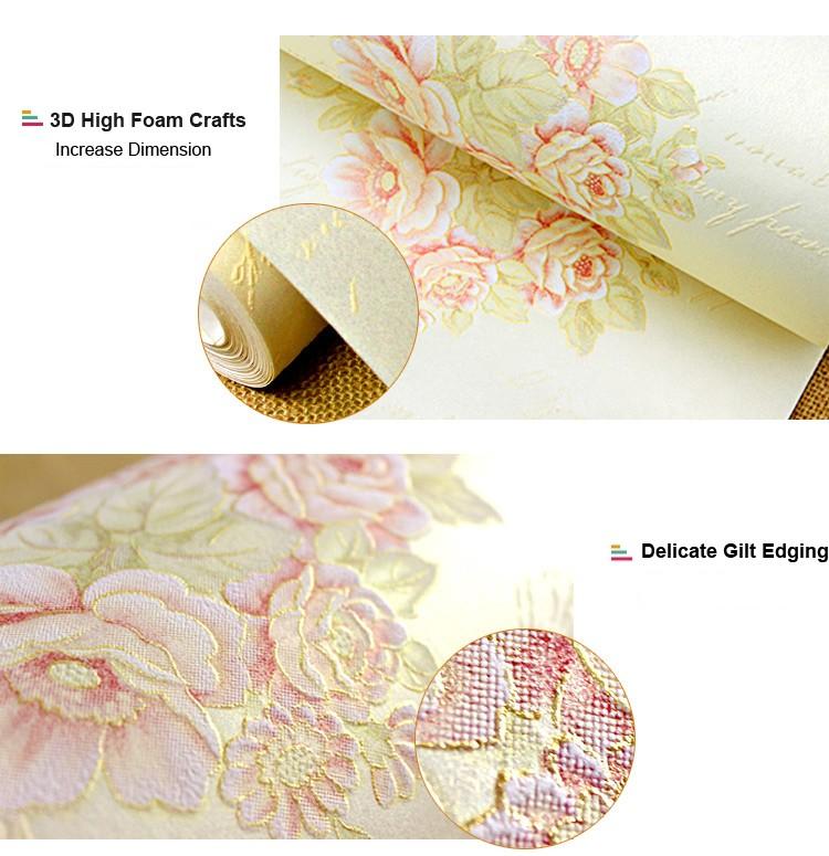 American Rustic Wallpaper for Walls Blue Beige 3D Floral Wall Paper ...