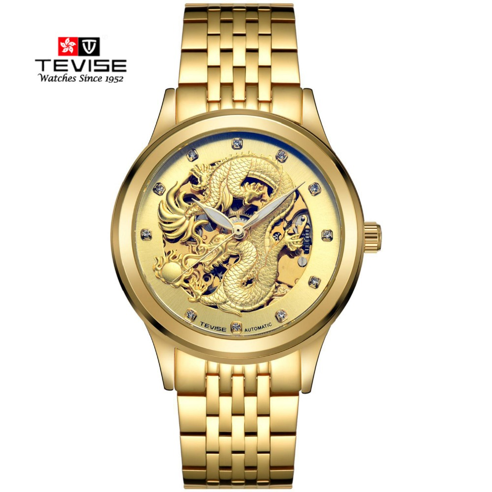 TEVISE Gold Watches Men China Dragon Mechanical Skeleton Rhinestones watch men Wrist Watch Waterproof Male Clock relojes hombre(China (Mainland))