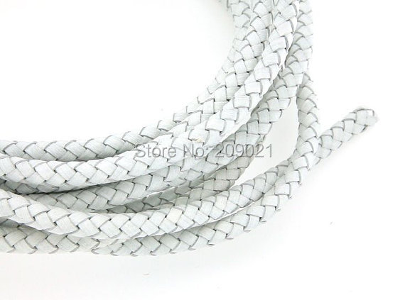 DIY 10 Yard of 6mm White Round Braided Leather Cord Fit Charm bracelet Jewelry Finding<br><br>Aliexpress