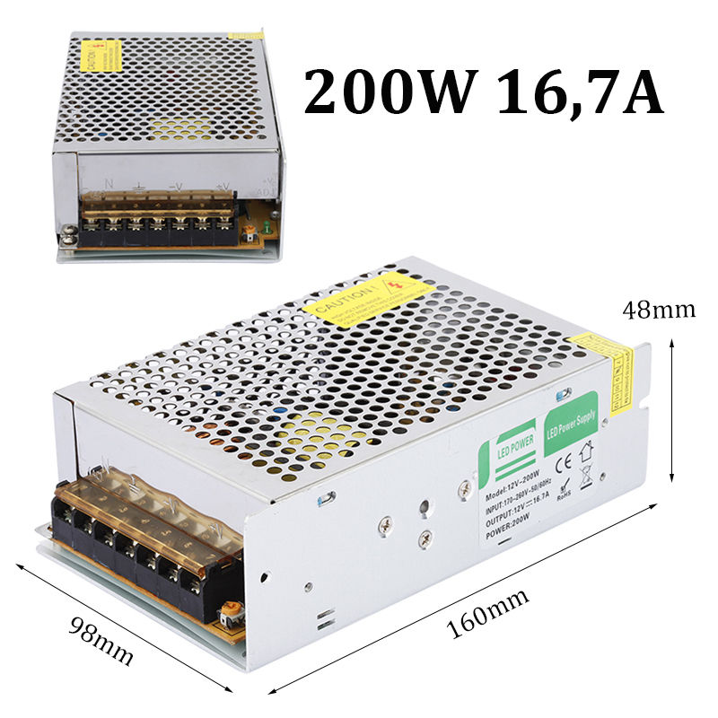 Power Supply AC 170-260V to DC 12V 200W LED Driver Lighting Transformer Adapter Regulated Indoor for LED Strip LD511(China (Mainland))