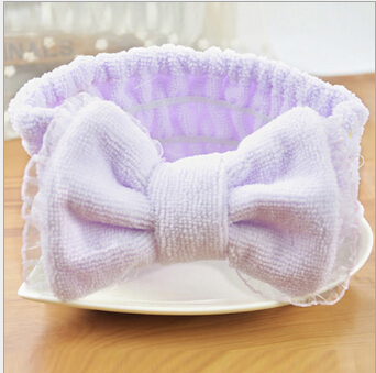 2015 Hot Sale Cute Hair Accessories Coral Velvet Headband Large Bowknot for Women's Face Makeup Hairdo Towel Turban(China (Mainland))