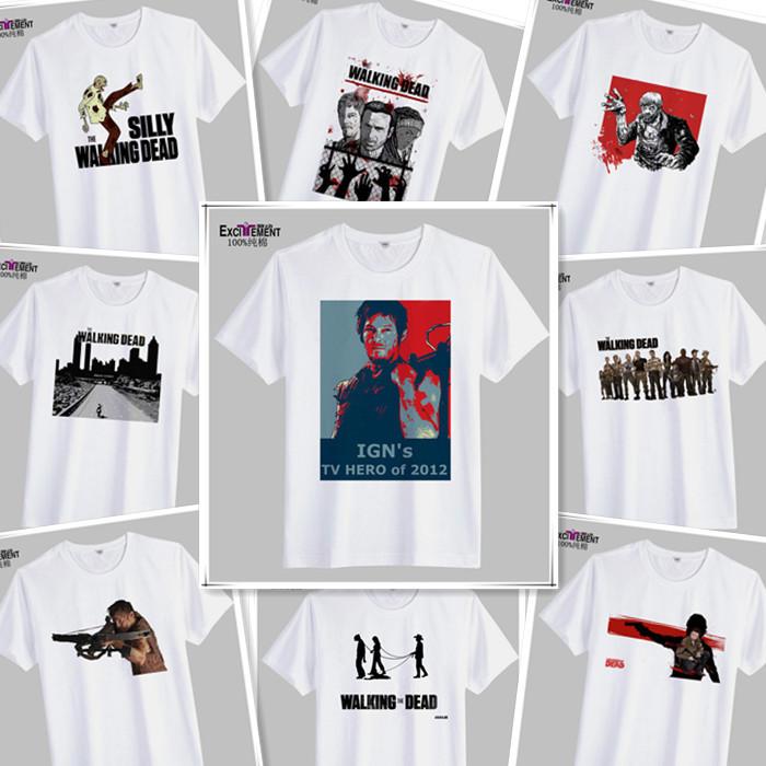 12 styles 100% Cotton Walking Dead Men T Shirt Print Short Sleeve Round Neck TOP TV Movie Play White Sports jersey - Wodacn Trading Co., Ltd. store