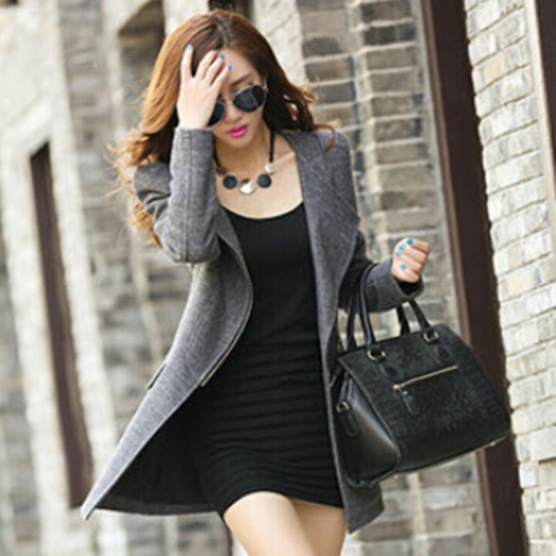 New 2015 Winter Women's Cashmere Wool Coat Casual Slim Long Clothing Zipper Jacket Tops Fashion Womens Jackets And Coats(China (Mainland))