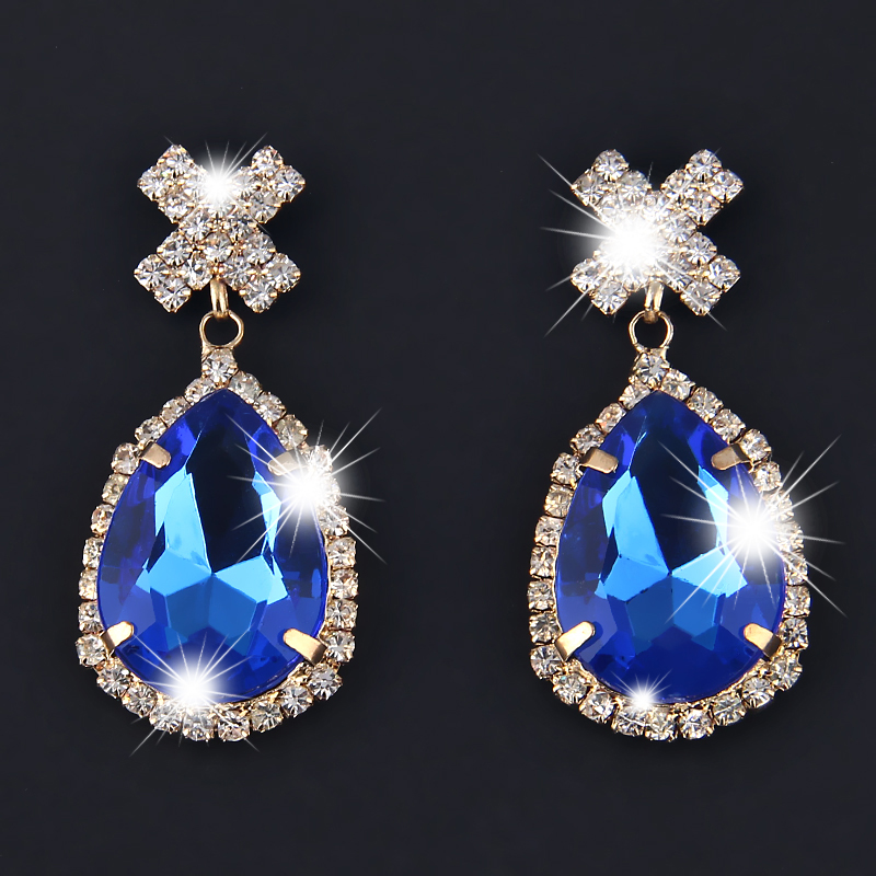 Trendy Clear Crystal Cross Hanging Earrings Big Water Drop Blue Special Stone Pending Earings Fashion Jewelry Boucle D'oreille(China (Mainland))