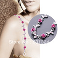 New High Quality Delicate Silver Plated Metallic Sexy Rose Rhinestone Bra Straps For Women Lingerie Accessories