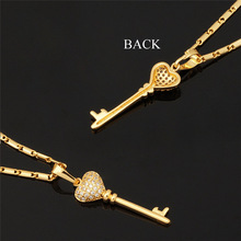 Key Chain Necklaces Pendants New Fashion Jewelry 18K Gold Platinum Plated Romantic Heart Cubic Zirconia Necklace