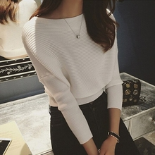 Crop Tops Women Sweaters And Pullovers Slash Neck Loose Batwing Sleeve Jumper Knitwear Short Knitting Casual Tricot T6112(China (Mainland))