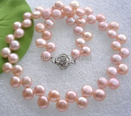 "free shipping of new fashion 2014 charming 7-8mm Pink Akoya Cultured Pearl Jewelry Necklace 17""BV154(China (Mainland))"