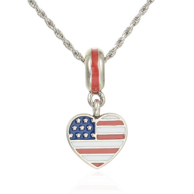 Летний стиль 925-sterling-silver ювелирных изделий сша в форме сердца флаг эмаль бусины DIY Jewerly подходит известный бренд браслеты и ожерелье
