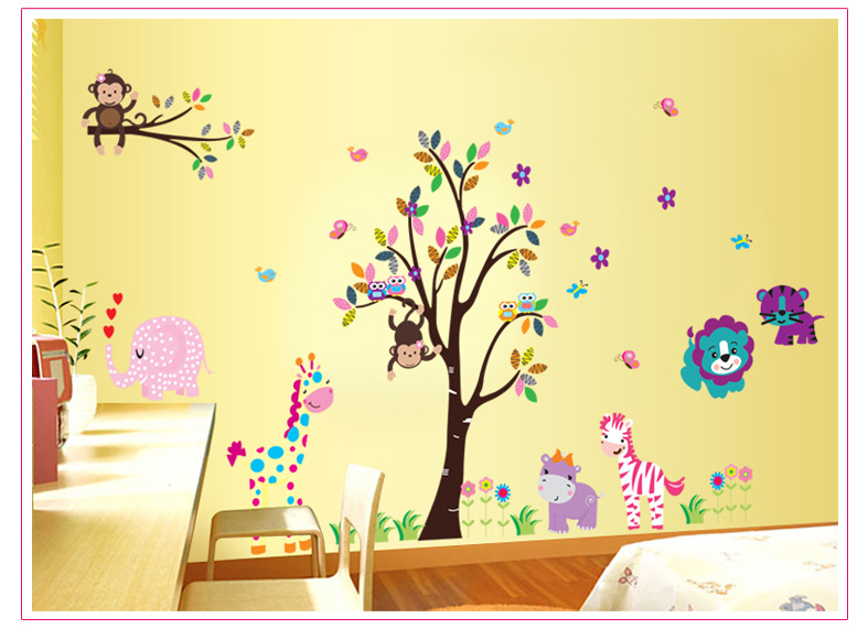 Owl family tree wall decal for kids rooms home decoration for Decoration autocollant mural