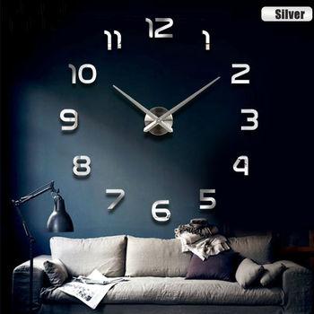 Fashion 3D big size wall clock mirror sticker DIY brief living room decor meetting room wall clock