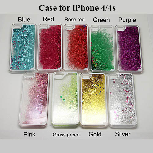 50pcs/lot Dynamic Liquid Glitter Sand Quicksand Star Clear Cell phoneCases for iphone 4 4S 4G PC Back Cover Case Hard Cover Case(China (Mainland))