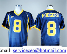 Cheap Sale 8 Aaron Rodgers Shirt California Golden College All Stitched Home Navy Blue Yellow product(China (Mainland))