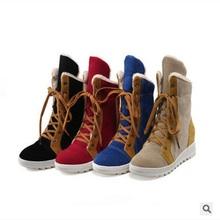 Cargador de la Nieve de la señora del Remiendo de Tacón Alto Aumento de Gran tamaño 34-43 en la Plataforma de Mitad de la Pantorrilla Con Cordones Mujeres Botas Altas Para Los Zapatos de Añadir de piel(China (Mainland))