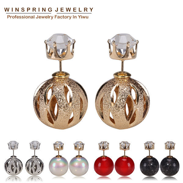 2015 New Design Crown Rhinestone Jewelry Earrings Big Pearl Gold Silver Stud Earrings Lady Luxury Pearl Jewelry Earrings(China (Mainland))