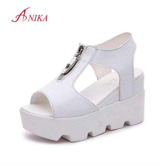 2016 женщины летняя обувь белый черный мода платформы мягкий Кожа PU является высокотехнологичным ...