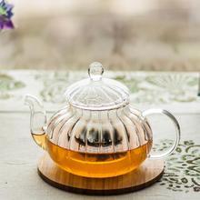 600ml 20fl.oz Heat Resisted Handmade Clear Glass Flower Herbal Teapot Coffee Tea Pot Pumpkin Kettle with Infuser & Lid(China (Mainland))