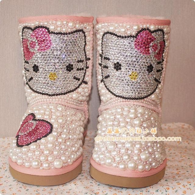 free shipping New arrival boots women's snow boots fur one piece knee-high women's snow boots rhinestone pearl kitty customize(China (Mainland))