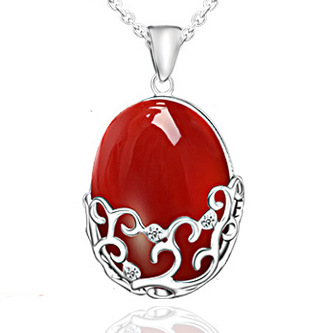 fashion vintage newest design brand red agate pendants 925 sterling silver necklaces costume jewelry for women