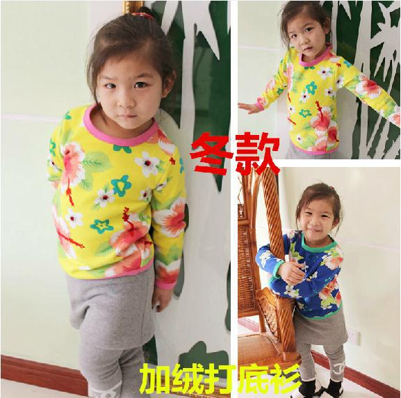 2014 winter baby girl t shirt yellow long sleeve ethnic style thick velvet floral t shirt bottoming shirt kids t shirts 5pcs/lot<br><br>Aliexpress