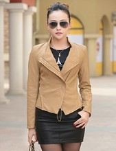 2016 spring and autumn women's leather jacket slim patchwork outerwear coats female short leather coat motorcycle leather(China (Mainland))