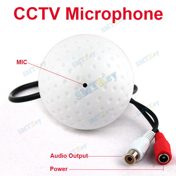 SMTKEY Wide Range 10 to 120 Square meters CCTV MIC Microphone RCA Output for CCTV Security Camera Audio(China (Mainland))