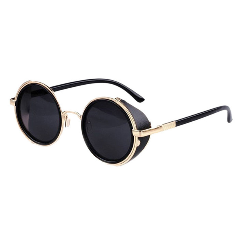 Fabulous 2015 1pcs Vintage Retro style Mirror Lens Round Glasses Cyber Steampunk Goggles Sunglasses Men Women