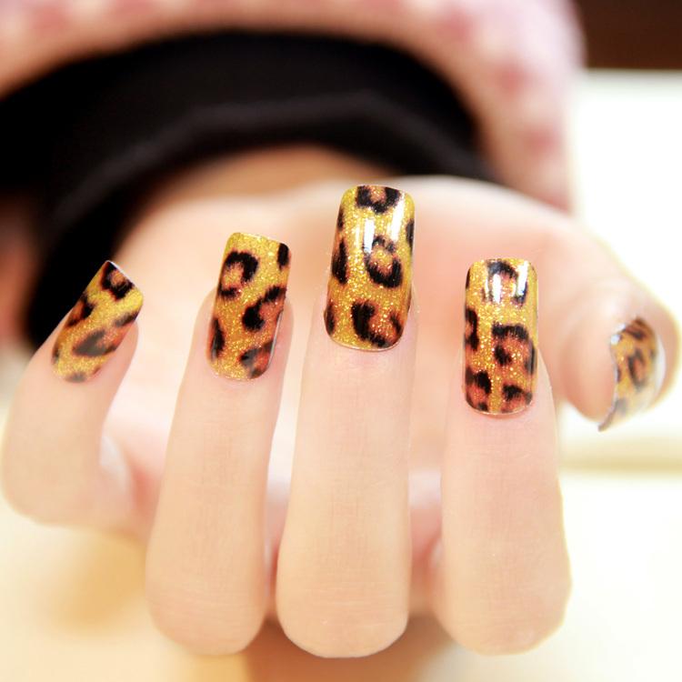 $2 New 12 designs chosen 16pcs x1 pack nails art stickers foils patch tips wraps DIY decorations Sexy leopard print wholesale(China (Mainland))