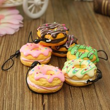 Brand 1PC 4.5cm Squishy New Cream Scented Doughnut Cell Phone Fruit Donuts Charms Stra(China (Mainland))