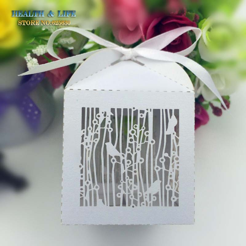 50PCS Laser Cut White Birdcage Wedding Favor Box in Pearlescent Paper box,party show baby shower candy favor box,chocolate box(China (Mainland))