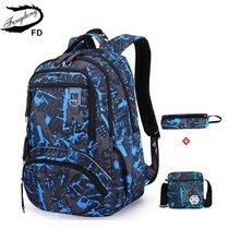 Juego de bolsas para estudiantes FengDong 3 uds., bolsas para la escuela secundaria para niños, mochila grande impermeable para niños, bolso de hombro para niños, estuche para lápices(China)