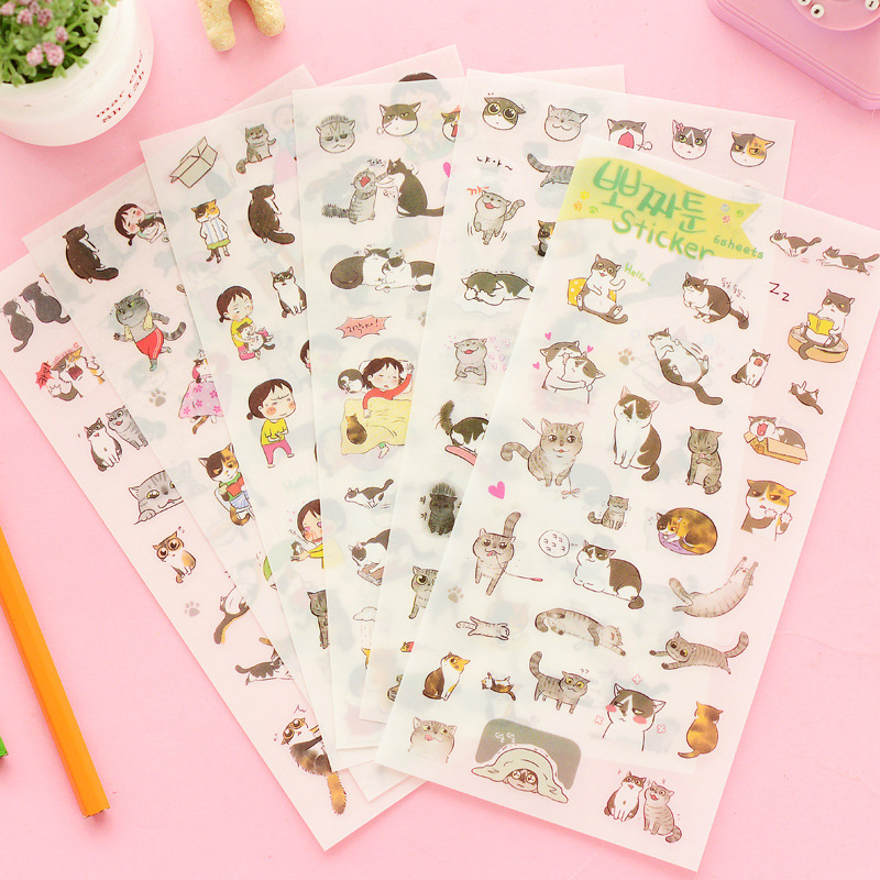 6 Sheets/lot I Love Little Cat Cute Decorative Sticker Album Diary Mobile Planner DIY Stickers PVC Transparent Postcard Decor(China (Mainland))