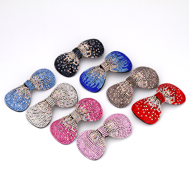 Headwear 1PC Hot Sale Stainless Steel Crystal Hair Clips for Women Solid 8 Colors Hair Barrettes Accessories for Girls(China (Mainland))