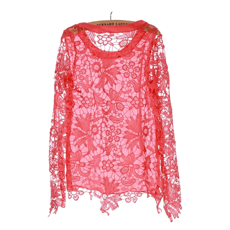 Womens Red Sheer Blouses 54