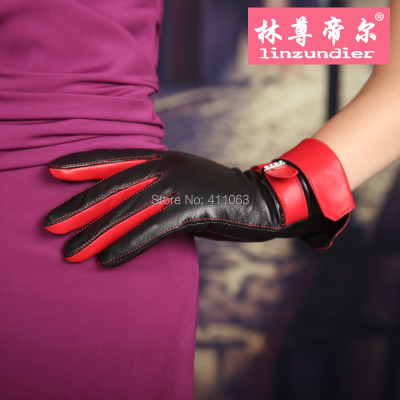 Autumn and winter woman Leather gloves. Fashion Gloves. Female driver gloves.free shipping.Red leather gloves.(China (Mainland))