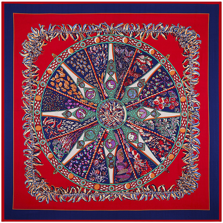100cm*100cm New Arrival 100% Twill Silk Ethnic explosion little lady pepper heavy silk twill scarf large square scarves 4130(China (Mainland))